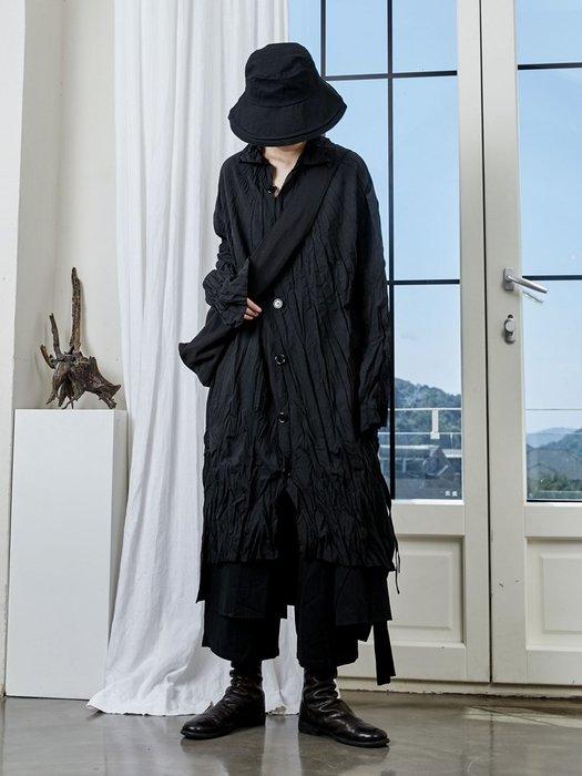 【鈷藍家】山本風SU秋小眾Yohji暗黑風設計感褶皺綁帶中長款襯衫開叉風衣外套