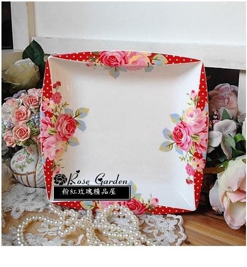 粉紅玫瑰精品屋~新款田園日式清新碎花玫瑰陶瓷盤~現貨