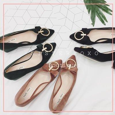Sis KOREA 簡約奢華 復古時髦 名媛風 絨面設計 典雅扣環尖頭 高跟鞋 中跟粗跟法式優雅 約會OL 上班族 尾