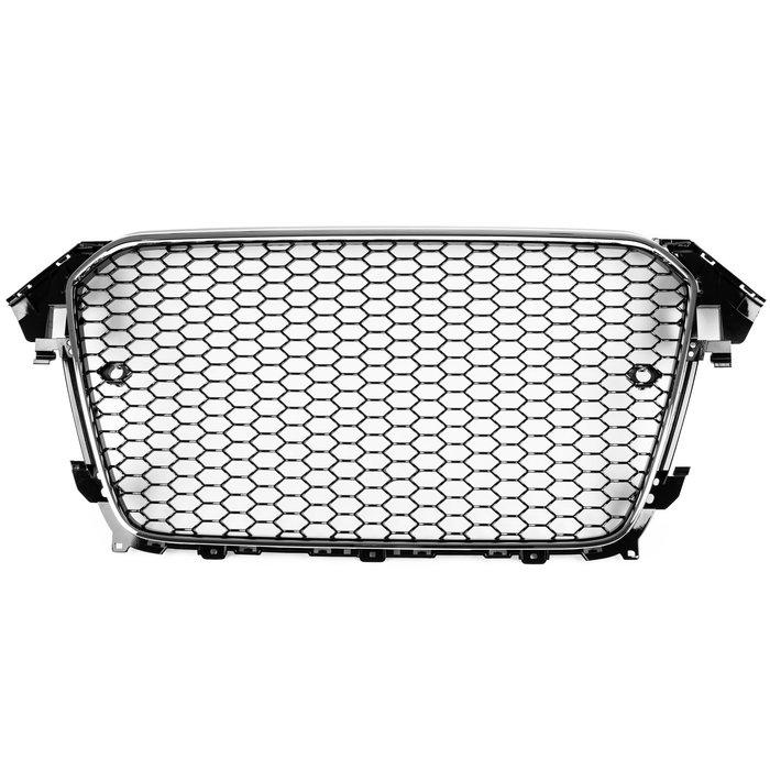 AUDI 奧迪 A4 S4 B8.5 2013-2016年 適用 RS4造型 水箱罩水箱護罩中網水柵- 鍍鉻+亮黑