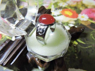 【玉靈石】天然紅玉髓戒指(戒內徑20MM/寶石徑12MM*10MM)附收藏盒/非/一元起標無底價//--M149
