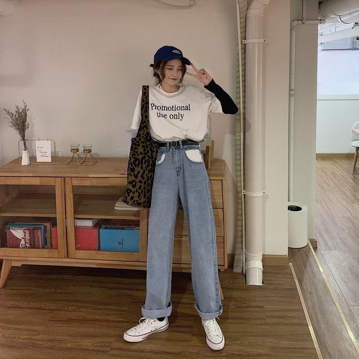 [PK服飾]2003背心裙連身裙T恤短褲襯衫高腰牛仔褲女寬松港味chic顯瘦直筒闊腿褲潮209