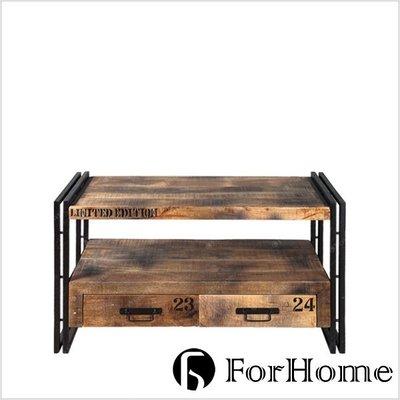 [ ForHome ] OSE-0258 工業風 Prudence 普魯敦斯 原木鐵件茶几 長形茶几 手繪字母邊几 邊桌