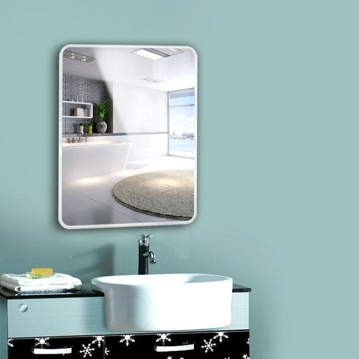 壁掛鏡 免打孔浴室鏡子貼牆無框衛浴鏡衛生間鏡黏貼壁掛鏡化妝鏡裝飾鏡T