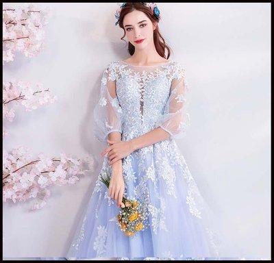 哆啦本鋪 天使的嫁衣 花仙子 尼加拉藍色新娘婚紗敬酒服生日宴會晚禮服D655