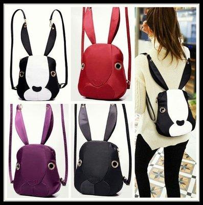 【萌~炸了~😍】立體小兔造型尼龍後背包四色【黑白+黑+紅+紫】
