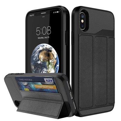 【3C殿堂】iphone X / Xs / XR / Max 防摔 支架 插卡 悠遊卡 卡片 PU 皮 殼 套 信用卡
