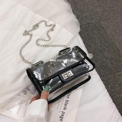 JMW集美屋韓國專櫃ins上新透明果凍小包包女2019新款百搭感洋氣單肩斜挎鏈條包
