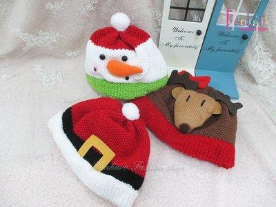 ☆[Hankaro]☆歐美創意聖誕布置道具聖誕人物造型針織兒童帽(樣品出清)