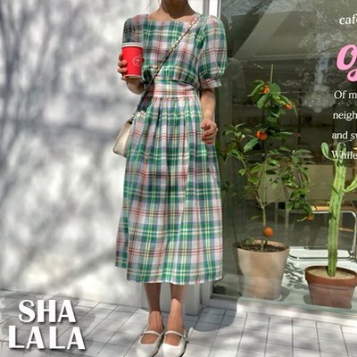 SHA LA LA 莎菈菈 韓版清新格子方領收腰綁帶燈籠短袖連衣裙洋裝2色(S~XL)2019050217預購款
