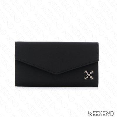 【WEEKEND】 OFF WHITE Logo Cross 皮夾 長夾 黑色 19春夏