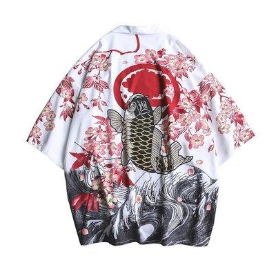 夏季薄款復古浮世繪仙鶴寬鬆和服道袍外套潮男港風七分袖開衫襯衫 --獨品飾品吧