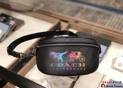 COACH 寇馳 72688 新款純色恐龍LOGO單肩包 胸前包/腰包 男女同款斜背包  美國代購