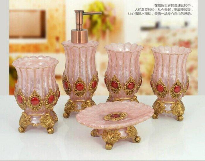 粉紅玫瑰精品屋~歐式高檔樹脂衛浴五件套裝~粉色