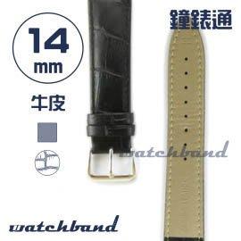 【鐘錶通】C1.10AA《霧面系列》鱷魚格紋-14mm 霧面黑┝手錶錶帶/皮帶/牛皮錶帶┥