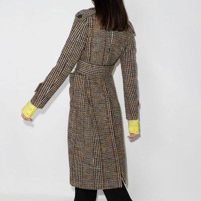 Victoria Beckham checked double-breasted coat 女復古格紋雙排扣毛呢大衣 限時超低折扣代購中