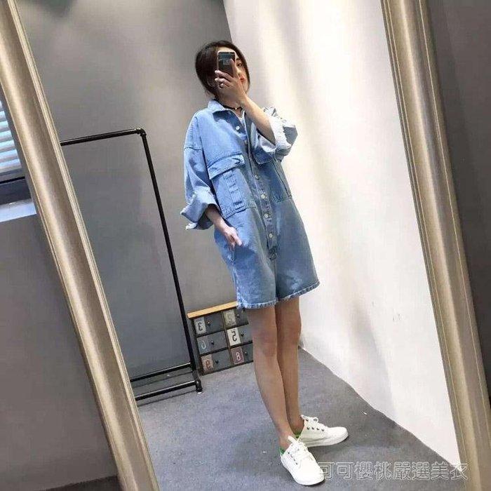 夏裝韓版淺藍毛邊牛仔連身褲女歐美短袖連身褲工裝寬鬆連衣褲短褲