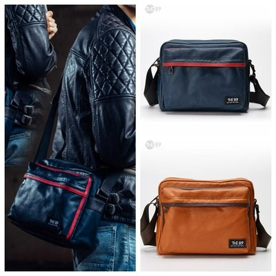THE89 復古騎士系列(M)防水肩背包 側背包 斜背包-橘色&藍色共有2色可選-972-6302