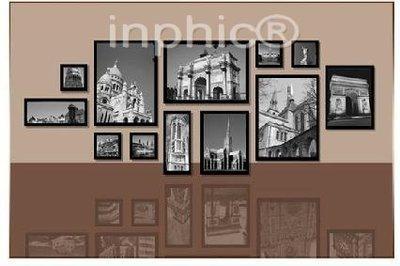 INPHIC-12框黑白建築畫實木照片牆相框牆照片牆相框組合有框畫裝飾畫