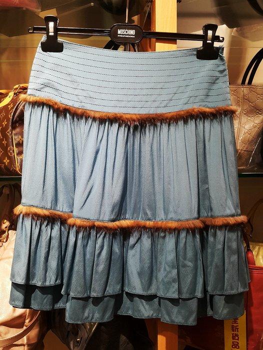 旺角名店 Blumarine 全新 絲質 貂毛 滾邊 及膝裙 小禮服裙 蛋糕裙
