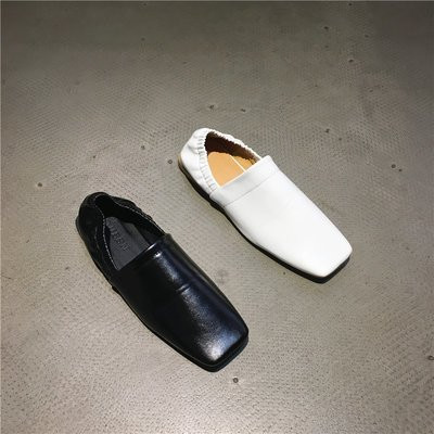 Sarah  實拍2018秋季平跟方頭縮口穆勒鞋百搭軟皮休閑涼鞋一腳蹬女鞋