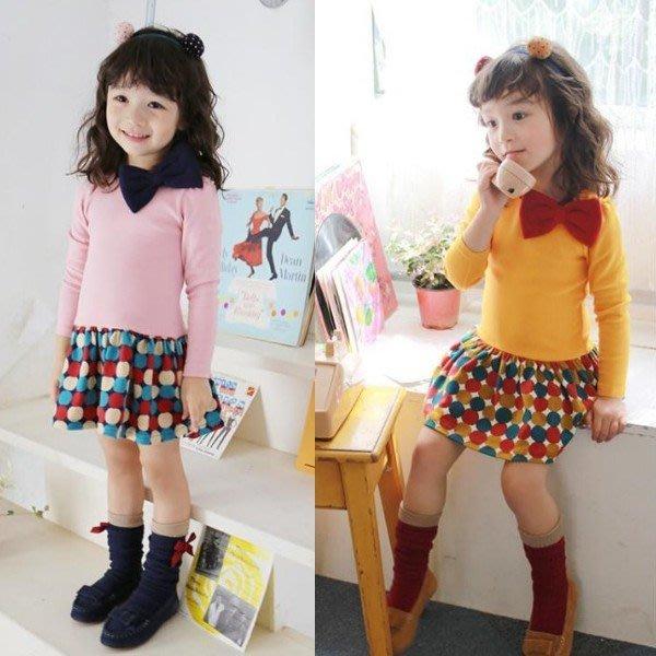 韓版《圓點蝴蝶結》甜美長袖洋裝 (J4-2)