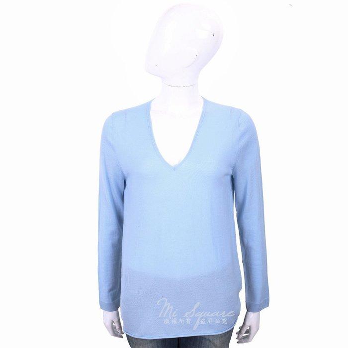 米蘭廣場 ALLUDE 100%羊毛水藍色V領針織羊毛衫 1740253-27