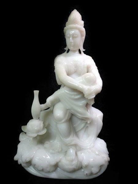藏雅軒-早期收藏-天然玉石-珍藏老件-白玉系列-寶瓶觀音-花輪哥黃傑齊所長鑑定證書