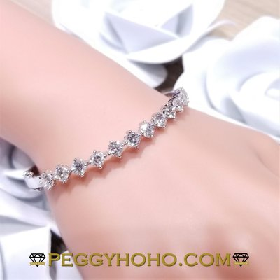 peggyhoho.com((店長精選)) 全新18K白金4卡9份真鑽石手厄 ((超值)) 平均31份一粒