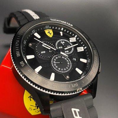 FERRARI法拉利男錶,編號FE00006,50mm黑圓形精鋼錶殼,黑色三眼錶面,深黑色矽膠錶帶款,行家最愛!