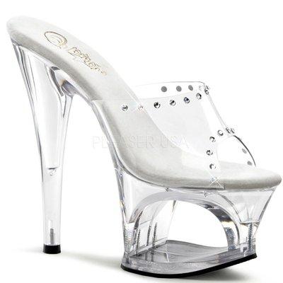 個性女孩透明鑲鑽鏤空平台跟鞋~歐美明星...