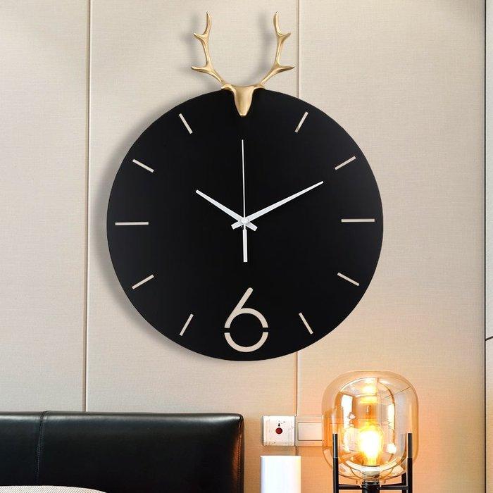 時鐘 掛鐘 時鐘掛鐘客廳家用輕奢歐式北歐創意時尚純銅鹿頭掛表藝術壁掛鐘表