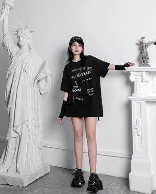 【黑店】原創設計 訂製款手繪塗鴉印花個性寬鬆短T 男女同款情侶短T 個性龐克搖滾五分袖T恤XY118