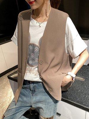 大碼夏季新款寬松純色簡約馬甲女裝馬夾減齡時髦