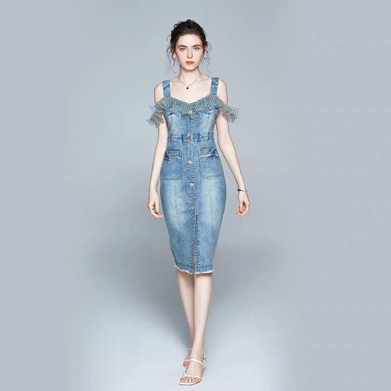 Olivia奧莉精品(M~2XL)吊帶收腰牛仔裙套裝 小禮服 洋裝 喜宴媽媽裝