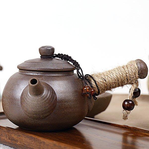 5Cgo【茗道】含稅會員有優惠 520105288489 粗陶日式茶器茶壺手抓陶瓷茶具粗陶壺燒水陶爐窯變單品側把壺燒水