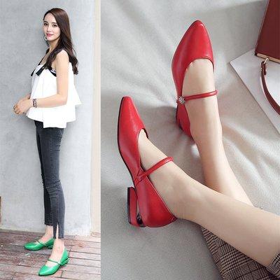 平底鞋女 春季新款真皮淺口單鞋一字帶紅色皮鞋黑色平跟瓢鞋子