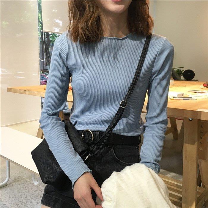 秋裝韓版女裝修身短款長袖T恤女寬鬆純色學生上衣顯瘦針織打底衫