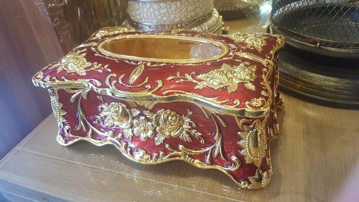 奢華風面紙盒.合金立體玫瑰造型面紙盒餐廳用品.裝飾.擺飾.民宿
