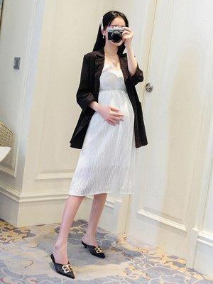 套裝 夏裝 寬鬆孕婦套裝夏季兩件套2019新款韓版外穿小西裝外套潮媽顯瘦吊帶裙夏