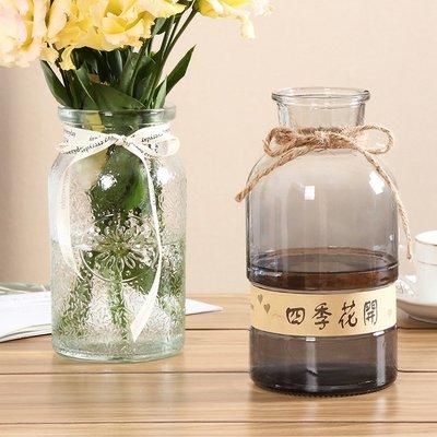 歐式花瓶北歐創意玻璃花瓶透明彩色水培植物綠蘿漸變玻璃花瓶擺件客廳插花