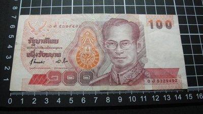 【大三元】亞洲紙鈔-泰國100銖-5329492-1張~非流通貨幣