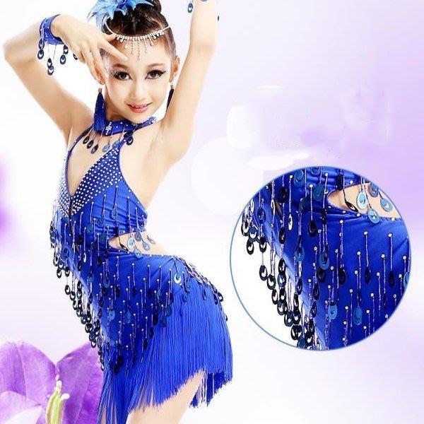 5Cgo【鴿樓】會員有優惠  37226685817 兒童拉丁舞服 女童拉丁舞比賽演出服亮片流蘇裙恰恰倫巴舞蹈服兒童舞衣