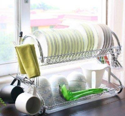 【易發生活館】潮土廚房置物架雙層滴水碗架瀝水架廚房置物收納架碗碟架瀝水架