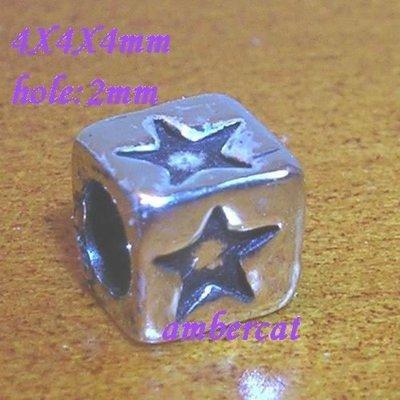 琥珀貓~【925純銀材料配件】造型方珠~N8518~星星~孔2mm~一個