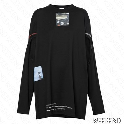 【WEEKEND】 BURBERRY 印圖 文字 挖空 長版 長袖 上衣 可當短洋 黑色 19秋冬