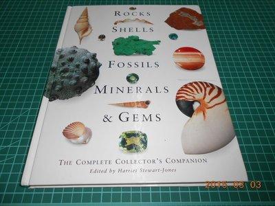 《ROCKS, SHELLS, FOSSILS, MINERALS&GEMS》八成新 精裝本 空白頁劃記,外觀微損