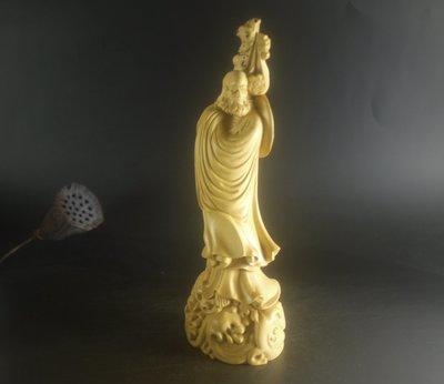 黃楊木 ~ 達摩  ~ 精雕  20公分   P2526