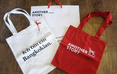 """曼谷設計潮流選物名店ANOTHER STORY紅色狗年紀念+白色""""我是一個曼谷人""""環保帆布袋/手提包/側肩背包tote"""