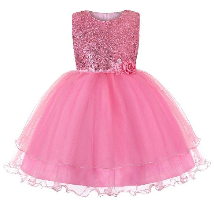 •*~ 辣媽咪衣飾小舖 ~*•❤童裝系列❤K970508韓版大童夏款甜美清新時尚蓬蓬蕾絲亮片可愛公主禮服公主洋裝